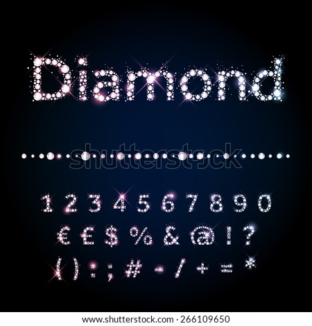 Vector Diamond letters. Shiny diamond alphabet font - stock vector