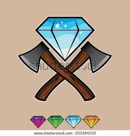 Vector Diamond with two axes - stock vector