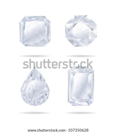Vector diamonds collection - stock vector