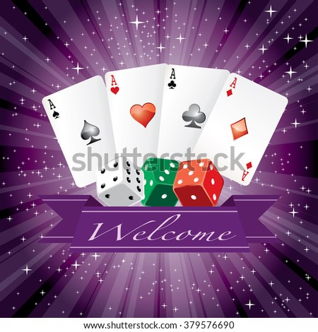 vector dice and cards with banner on purple starry night - stock vector
