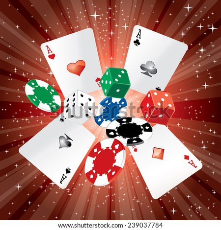 vector dice, cards and gambling chips on red starry night background - stock vector