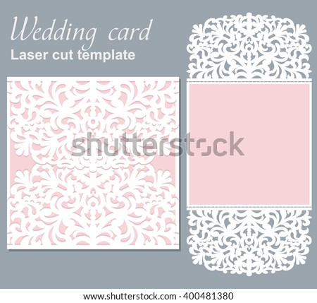 Vector die laser cut wedding card template. Wedding invitation card mockup