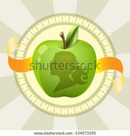 Vector diet illustration with green apple - stock vector