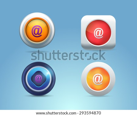 Vector Different Frames Mail, Contact Icons, Buttons Template