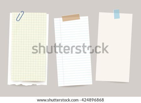 Vector different note papers with paper clip and adhesive tape. - stock vector