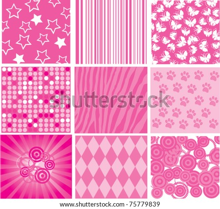 vector different pink patterns - stock vector