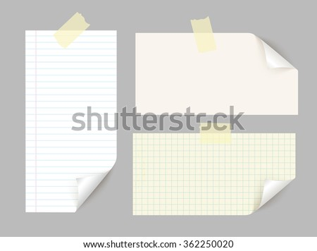 Vector different sheets of note papers with curled corner and adhesive tape. - stock vector