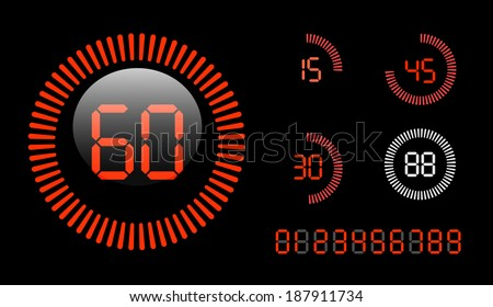 Vector Digital Countdown Timer isolated on black background - stock vector