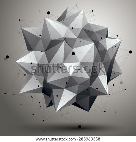 Vector digital 3d abstraction, lattice geometric polygonal element, perspective wireframe object. - stock vector