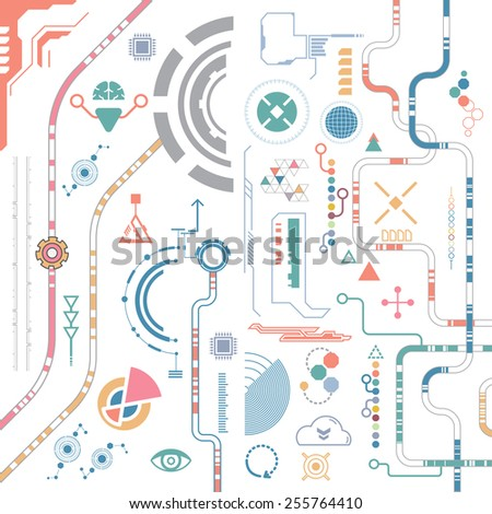 vector digital element internet technology communication - stock vector