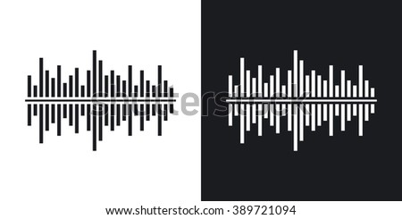 Vector digital equalizer icon. Two-tone version on black and white background - stock vector