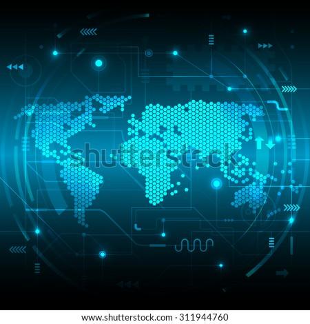 Vector digital global technology concept - stock vector