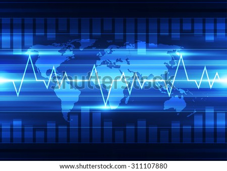 vector digital global technology concept, abstract background - stock vector
