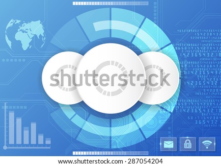 vector digital global technology interface, abstract background - stock vector
