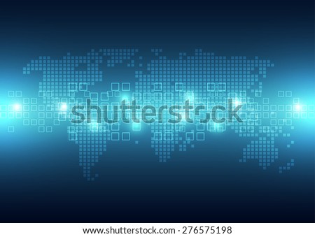 vector digital global technology pixel, abstract background - stock vector