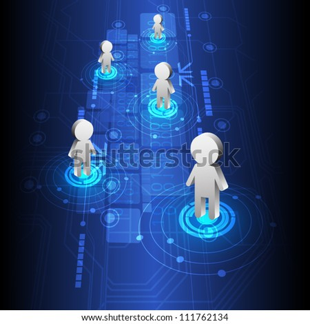 vector digital people technology design, abstract background - stock vector