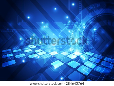 vector digital technology concept, abstract background - stock vector