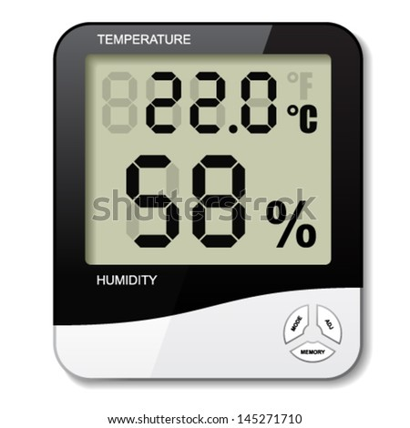 vector digital thermometer hygrometer humidity icon - stock vector