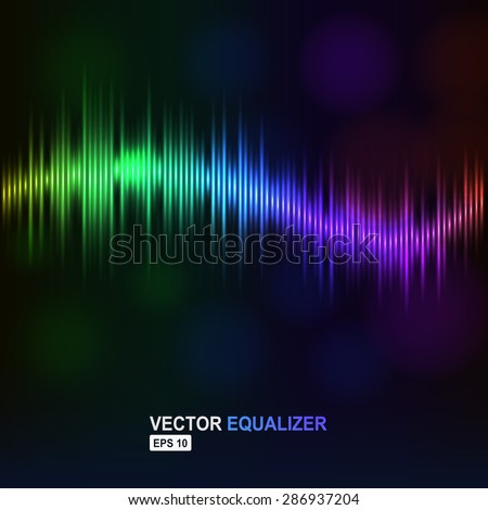 vector digital wave as rainbow equalizer sound abstract club design music