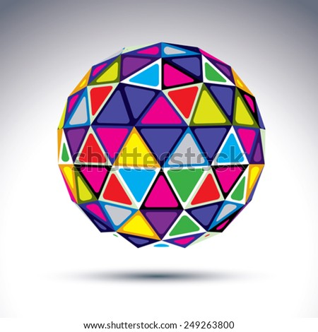Vector dimensional modern abstract object, 3d disco ball. Psychedelic rich globe constructed from bright isosceles triangles with outline, kaleidoscope element.