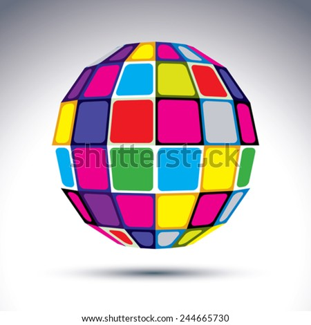 Vector dimensional modern abstract object, 3d disco ball. Psychedelic vivid globe created with colorful squares.