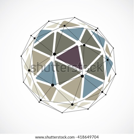 Vector dimensional wireframe low poly object, colorful spherical shape with black grid. Technology 3d mesh element made using triangular facets for use as design form in engineering.