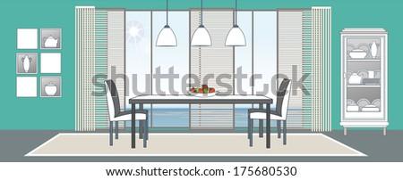 Vector dining-room interior. Flat design stylization. Collection of living-room, dining-room, bathroom, kitchen, bedroom, child's bedroom vector interior - stock vector