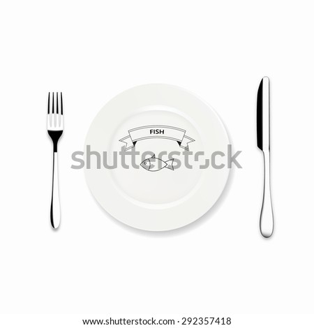 Vector Dinner plate design with Icon knife and fork, Can be use Restaurant menu