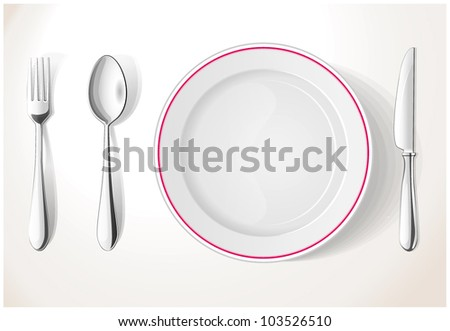 Vector. Dinner-plate, spoon fork and knife. Chrome - stock vector