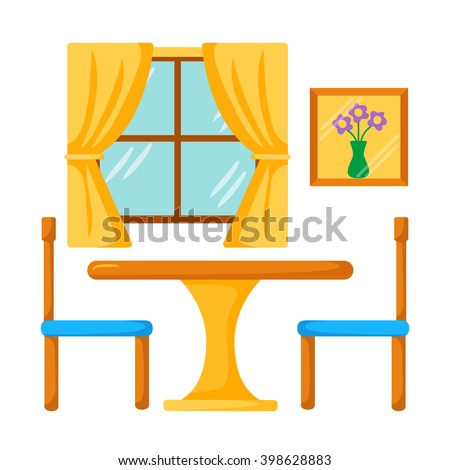 Vector Dinner Table With Chairs Dining Room Interior And Illustration