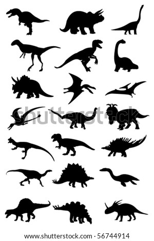 vector dinosaur silhouette - stock vector