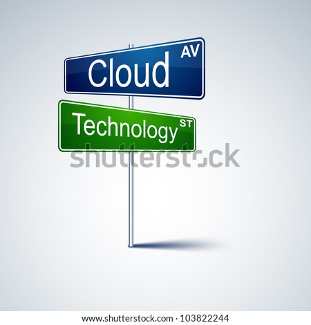 Vector direction road sign with cloud technology words. - stock vector