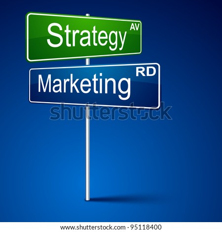 Vector direction sign with marketing strategy words. - stock vector