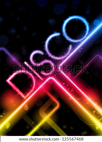 Vector - Disco Abstract Colorful Lines on Black Background