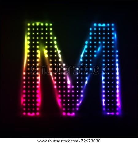 Vector Disco alphabet. Letter M - stock vector
