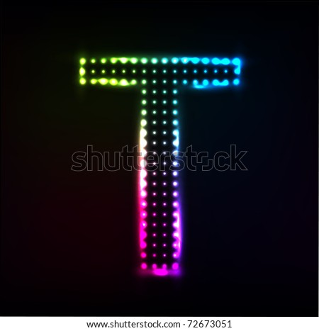 Vector Disco alphabet. Letter T