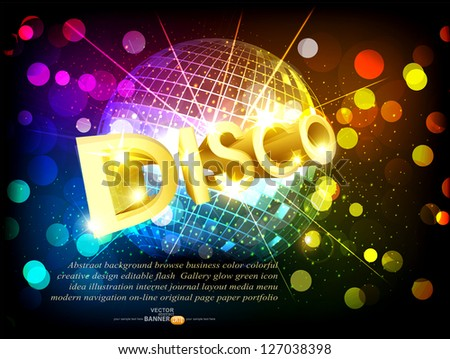 vector disco background with disco ball and gold lettering - stock vector