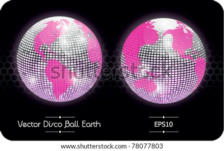 Vector disco ball globe, glossy earth, America and East Asia - stock vector