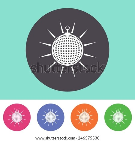 Vector disco ball icon on round colorful buttons - stock vector