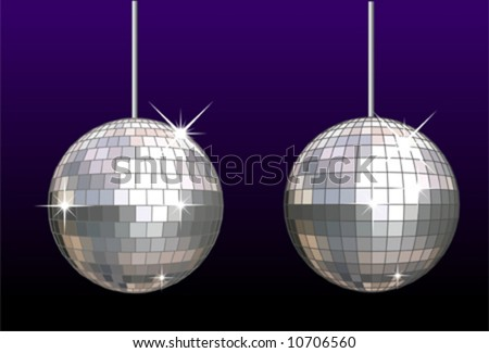 Vector disco-ball set isolated. The EPS separate layers: mirrors, frames, stars and background. No gradients, no transparecy.