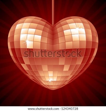 Vector Disco Heart. Red mirror disco ball in the shape of heart - stock vector