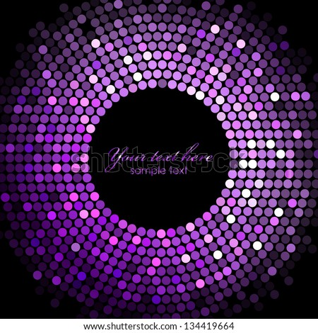 Vector disco lights  purple frame - stock vector