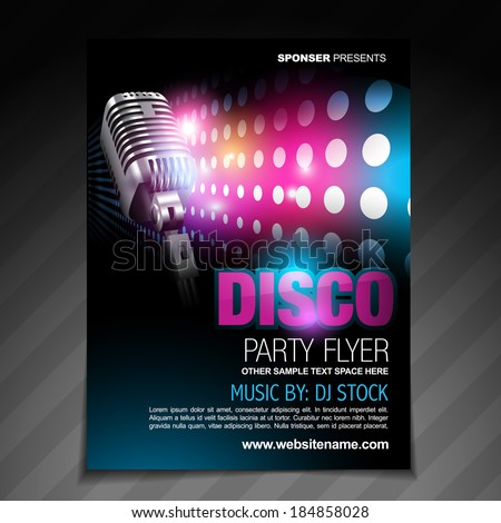 vector disco party flyer brochure design - stock vector