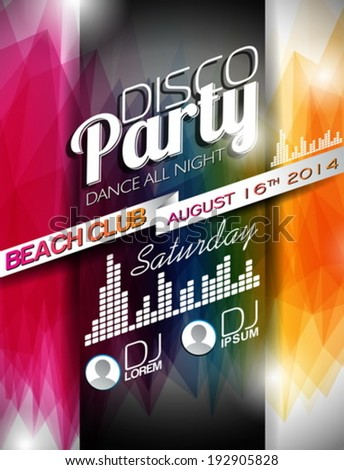 Vector Disco Party Flyer Design on abstract color background. Eps10 illustration. - stock vector
