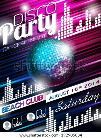 Vector Disco Party Flyer Design with disco ball on shiny background. Eps10 illustration. - stock vector