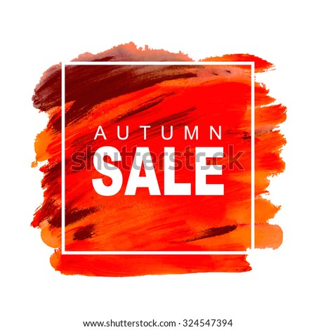 Vector discount banner autumn sale with hand drawn acrylic red background. - stock vector