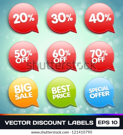 Vector Discount Labels (Tags) - stock vector