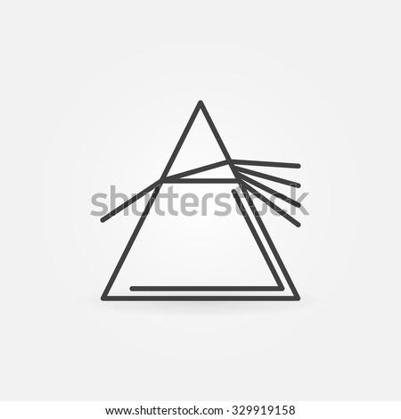 Vector dispersive prism icon - vector simple thin line physics symbol or logo element - stock vector