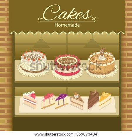 Vector display the cake products on shelf.Decorate with bricks wall and awing.Earth tone colors.