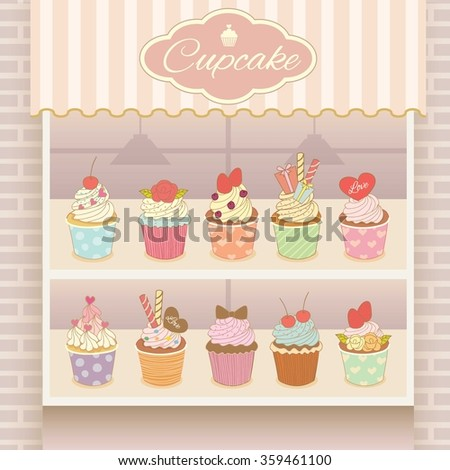 Vector display the cupcake products on shelf.Decorate with bricks wall and awing.Pink pastel background colors.
